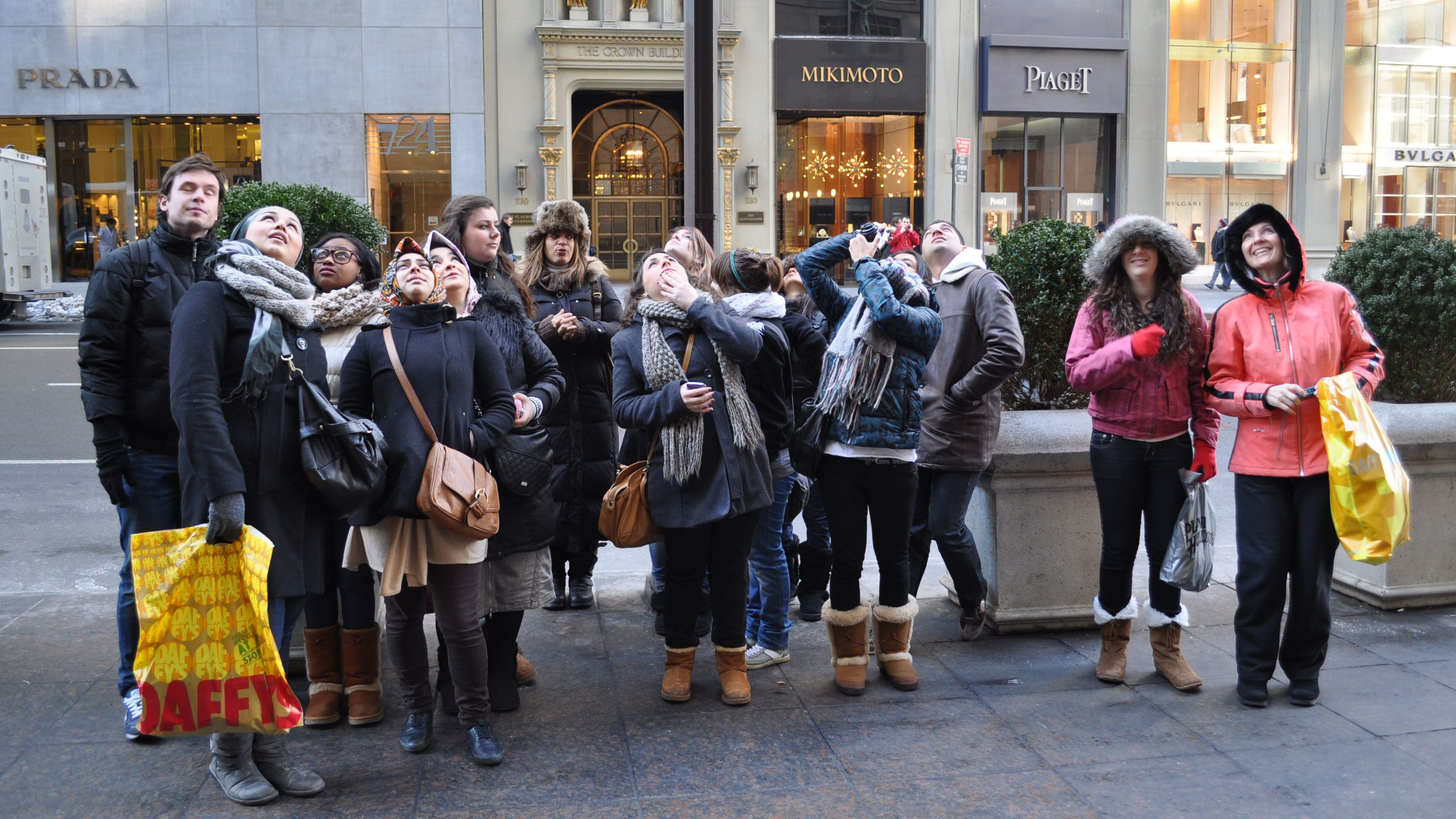 Tour group on Fifth Avenue in New York