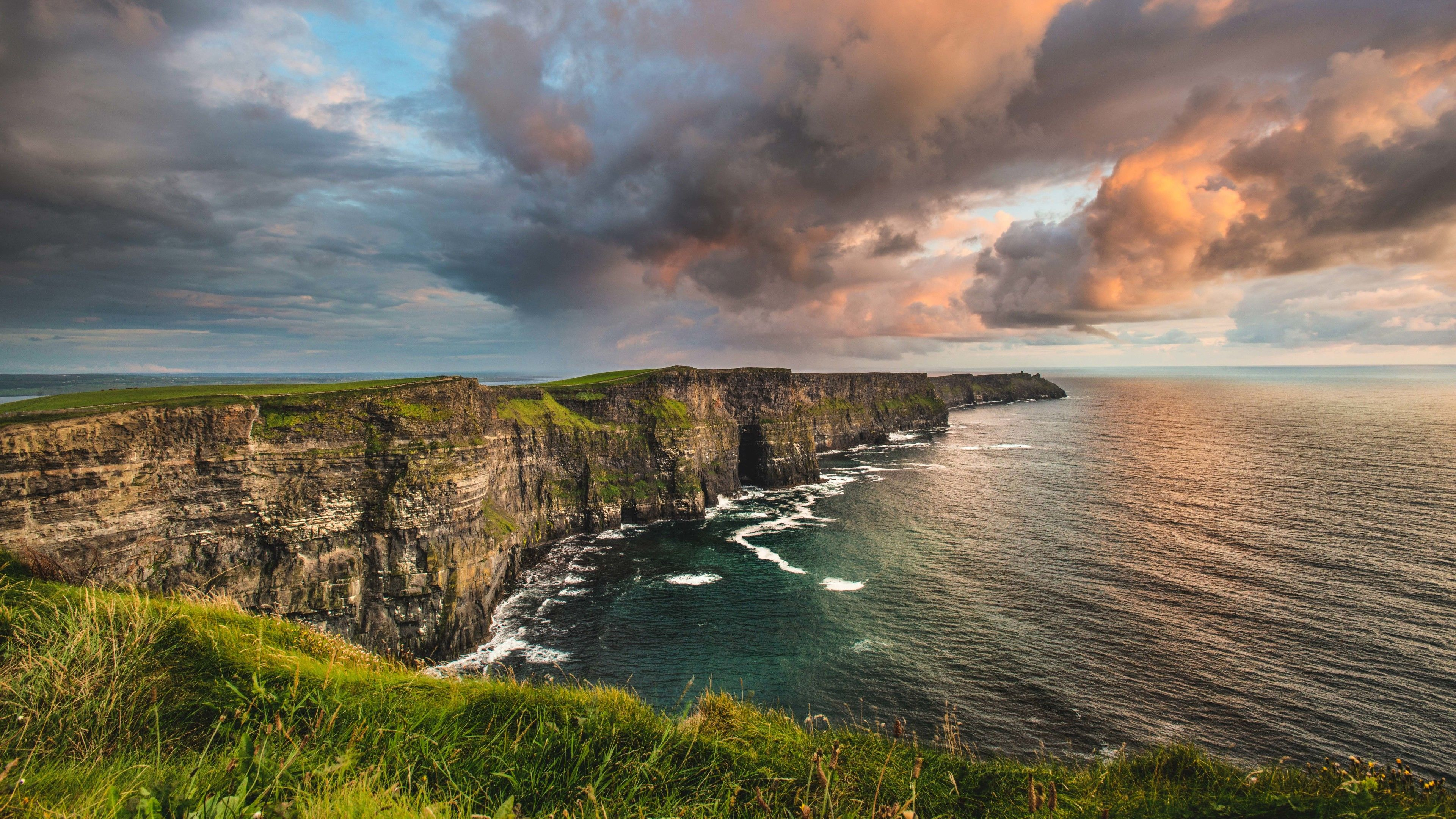 Cloudy sunset view of Cliffs of Moher.