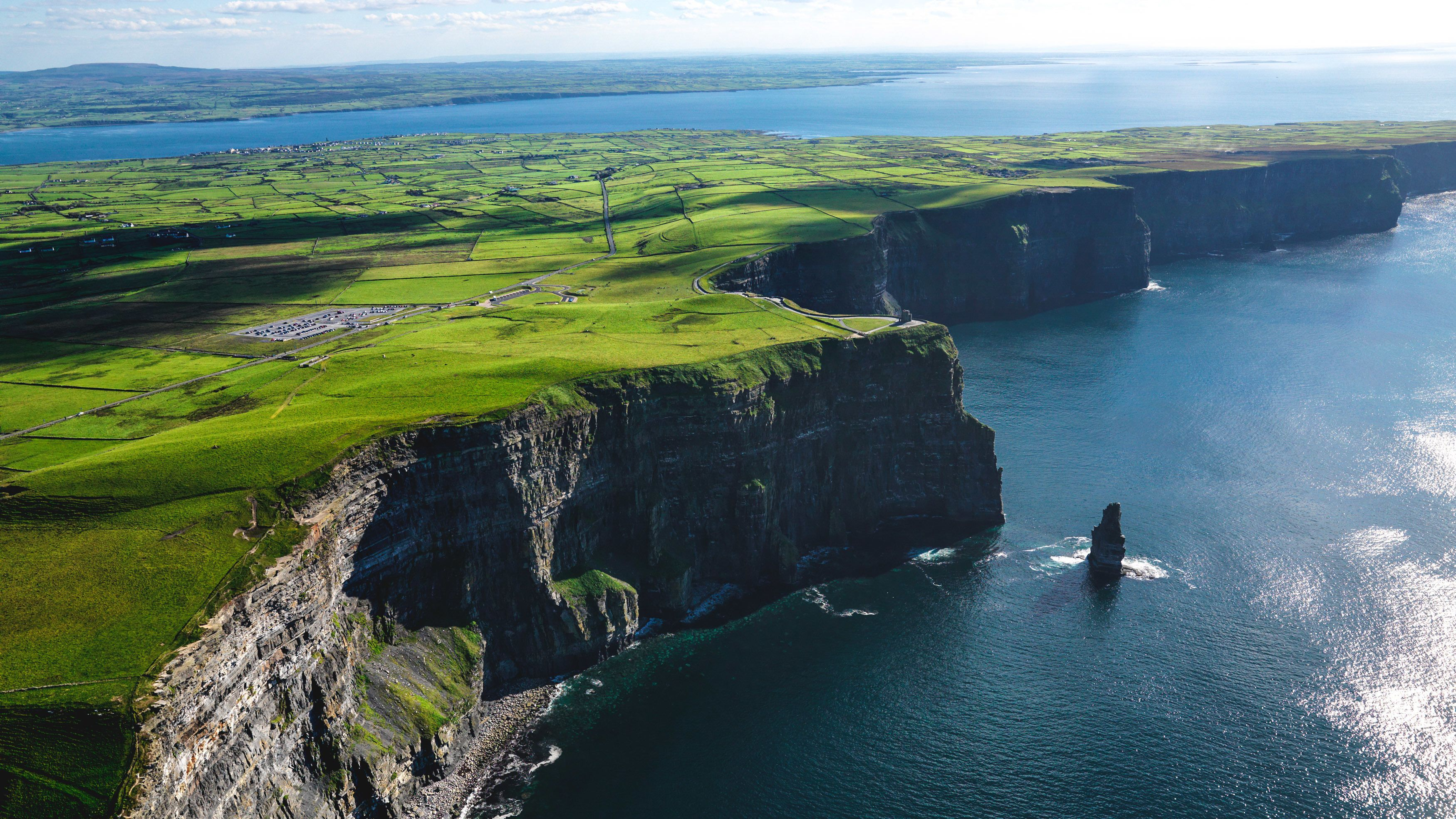 Aerial view of Cliffs of Moher during clear day.