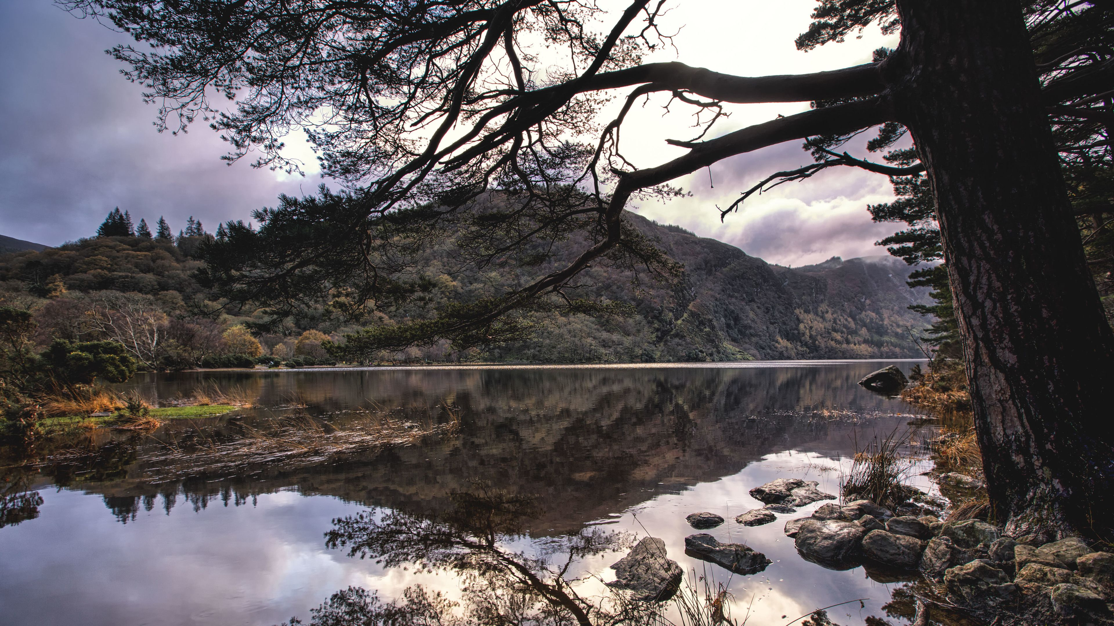 River view of Wicklow Mountains at sunset.