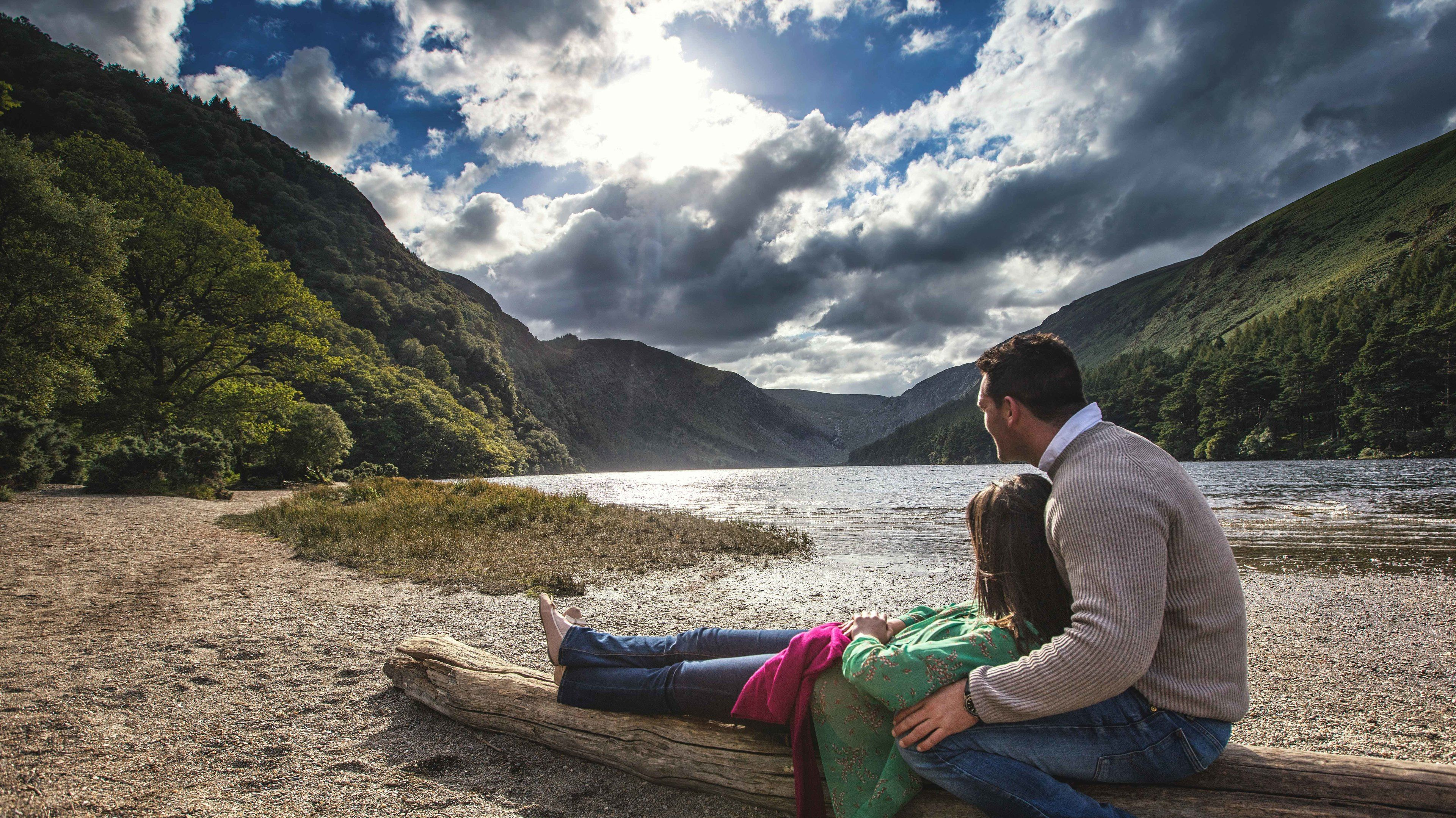 Couple observing beautiful scenery in Wicklow.