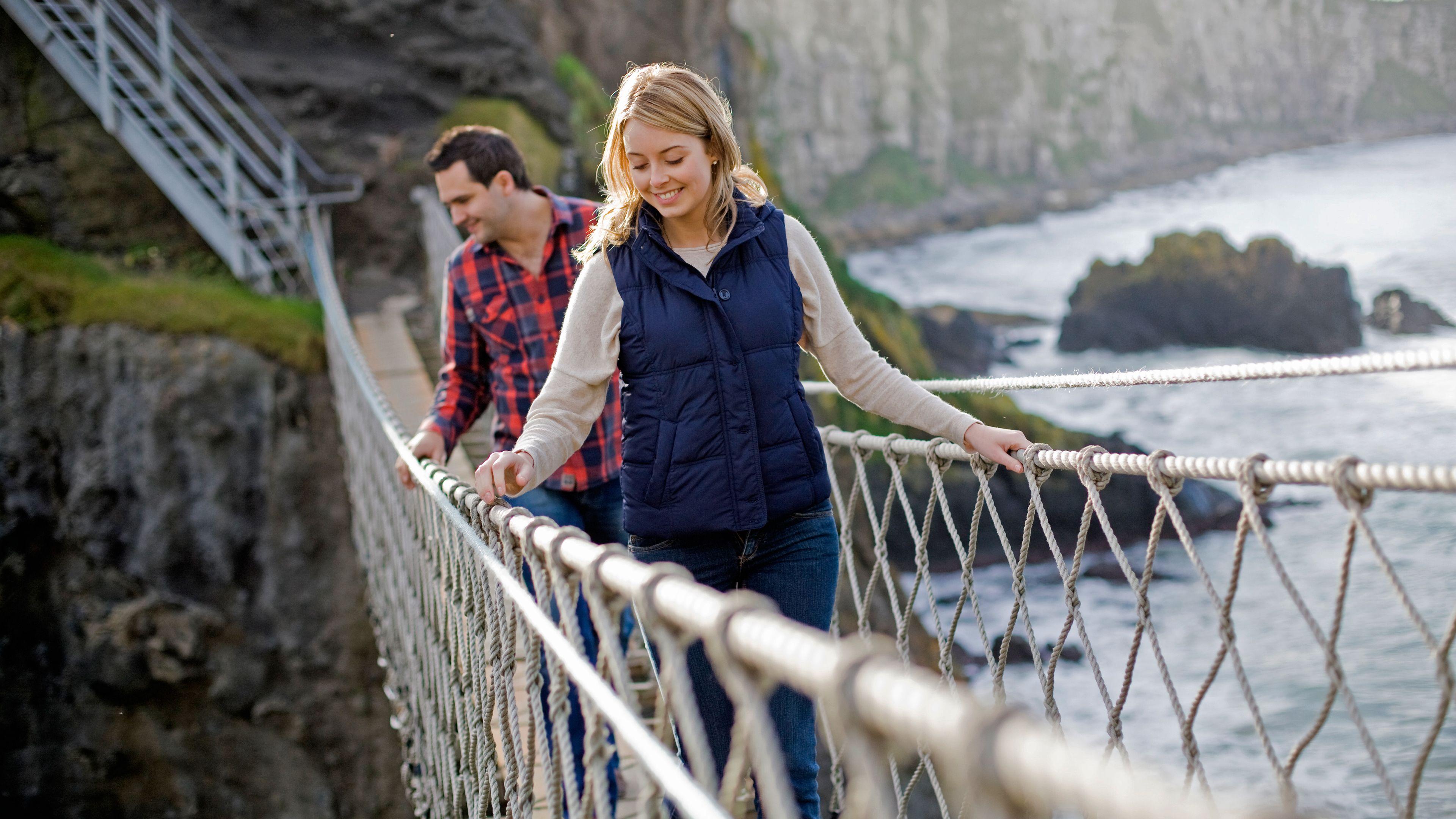 people on rope bridge