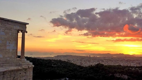 watching the sunset from the Acropolis in Athens