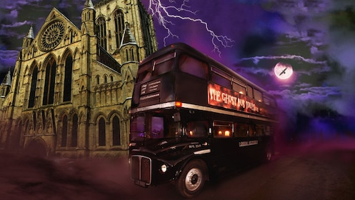 Spooky image of tour bus in York.