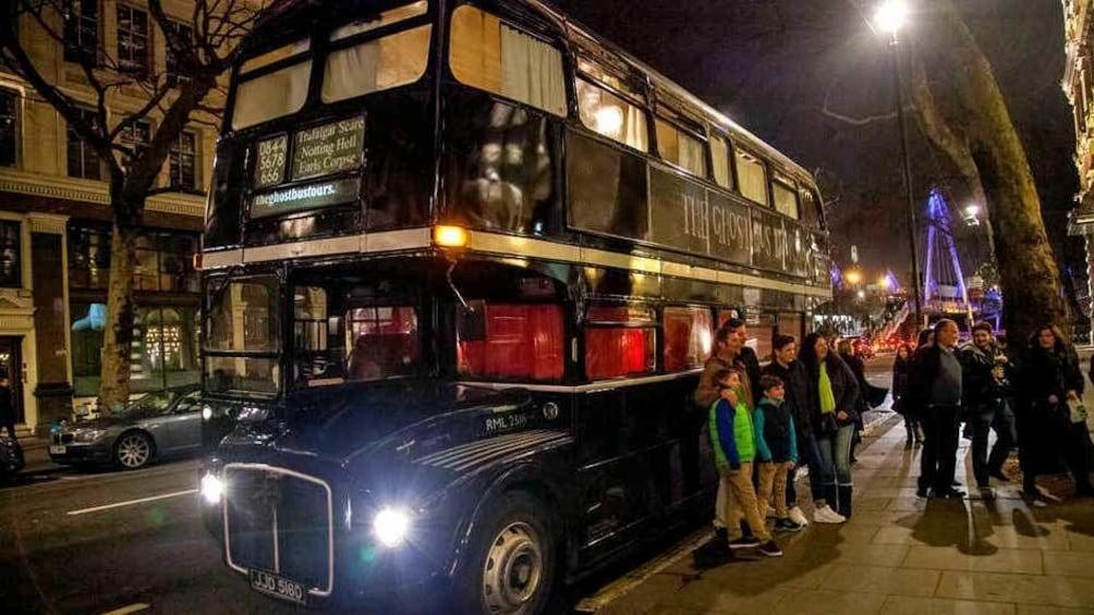 Indlæs billede 3 af 5. double decked ghost bus on the street in Edinburgh