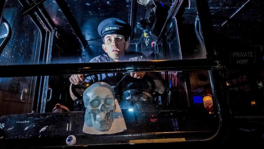 Indlæs billede 1 af 5. ghost bus driver in character in Edinburgh