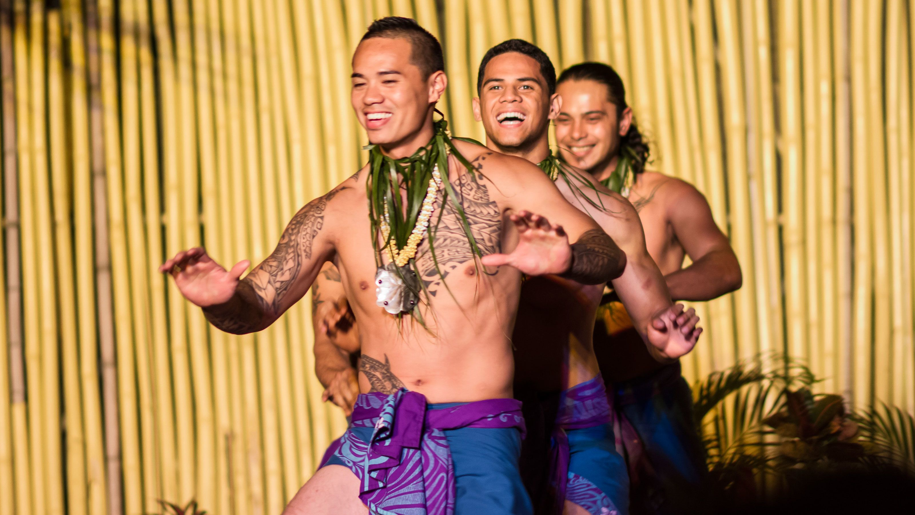 Three guys performing at the Luau at Royal Lahaina Resort in Maui