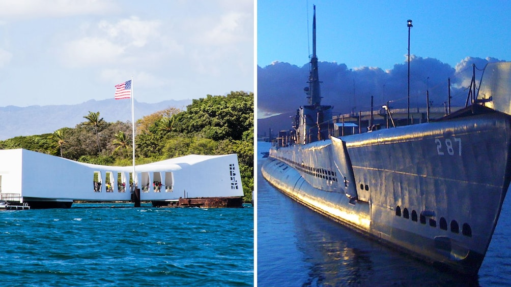 Foto 1 von 9 laden Combo image of Pearl Harbor and USS Bowfin in Oahu