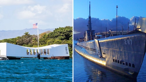 Combo image of Pearl Harbor and USS Bowfin in Oahu