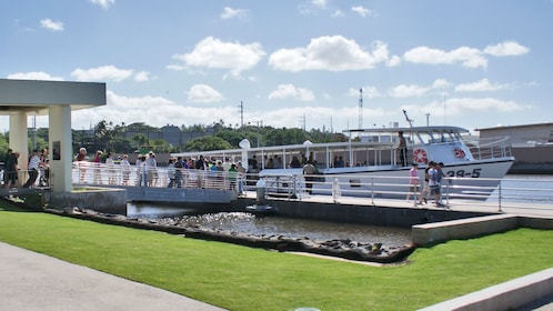 Ferry boat at the Pearl Harbor Visitor Center where tourists board en route to the USS Arizona Memorial