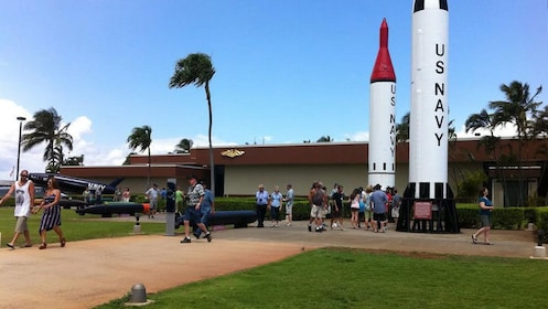 Pearl Harbor Waterfront Memorial with the Regulus missile standing the the background