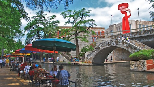 Beautiful day time view of San Antonio Riverwalk.