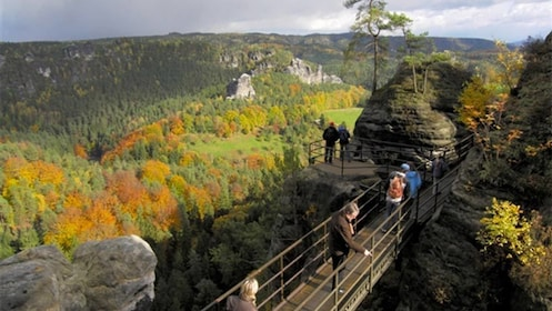 Tour group enjoying the Bohemian Saxon Switzerland
