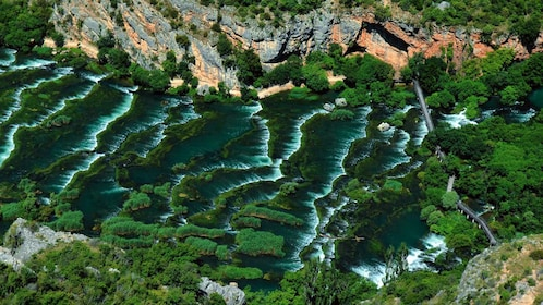 Aerial view of Krka Waterfalls