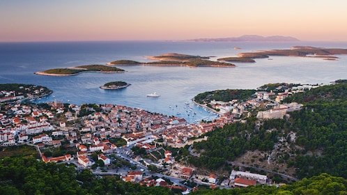 Beautiful aerial view of Hvar at dawn.