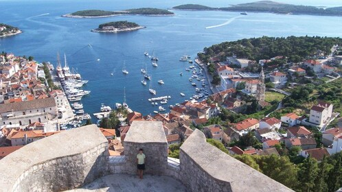 Beautiful aerial view of Hvar during the day.
