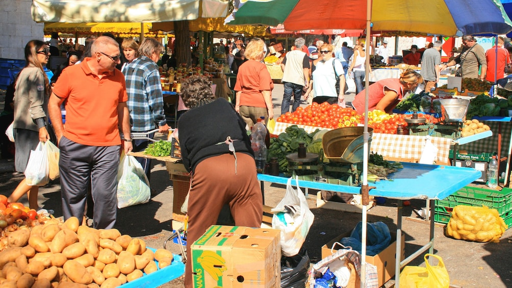 Show item 2 of 6. View or local produce marketplace in Split during the day.