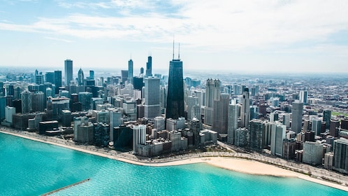 Stunning day view of Chicago from a helicopter