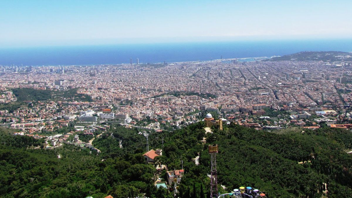 looking over the city from high altitude in Barcelona