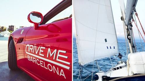Combo image of Ferrari experience and sail in Barcelona