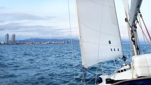 Sailboat off shore of Barcelona