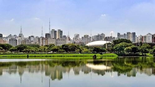 walking along a large pond in Brazil