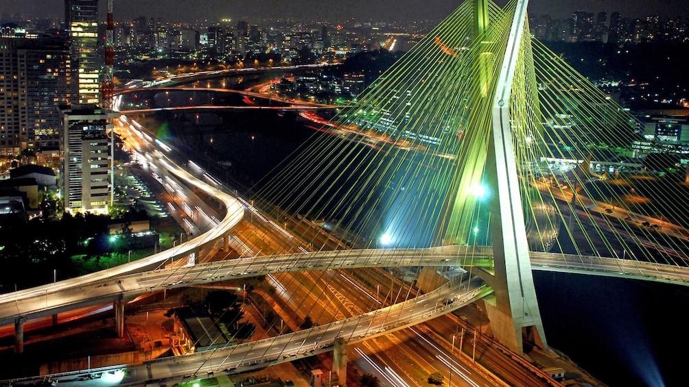 Show item 2 of 4. well lit city bridge at night in Brazil