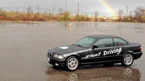 stunt car parked in the rain in Ontario