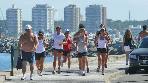 Group of runners in the city seen on the Punta del Este City Tour in Montevideo, Uruguay