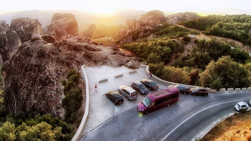 Scenic viewpoint at sunset in Meteora