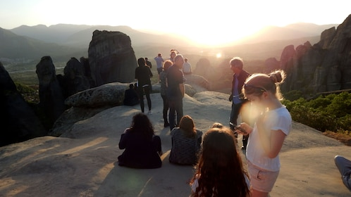 Group at sunset in Meteora
