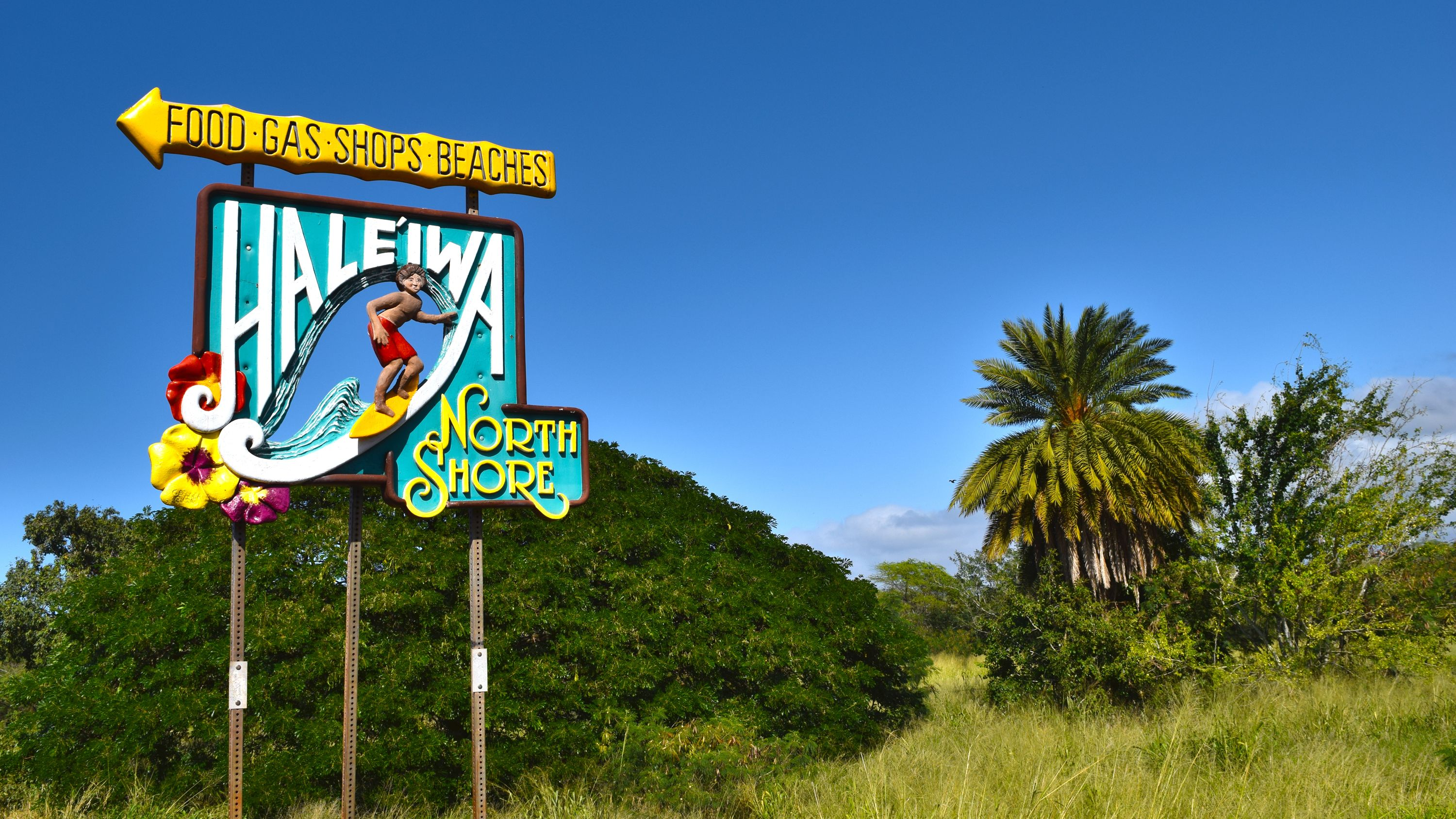 Colorful sign for Haleiwa North Shore