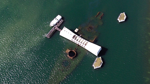 Pearl Harbor Memorial of the USS Arizona seen from above