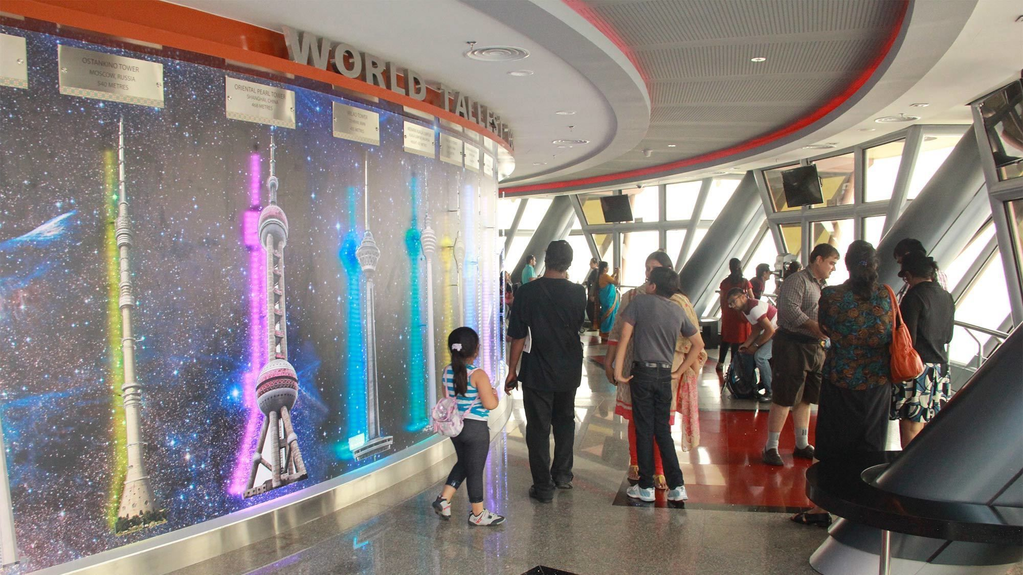 The infographic of the world's tallest towers in KL Tower Observatory Deck tour
