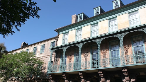Ornate balcony detail on an historic building in Charleston