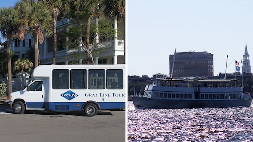 Split image of a tour van in the city and a boat on the water in Charleston