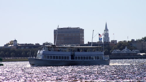 Cruise boat on river in Charleston