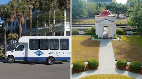 Split image of a tour van in the city and a view of the grounds of a mansion in Charleston