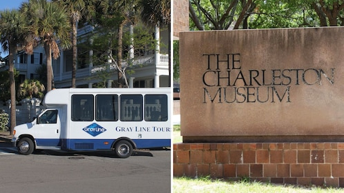 Split image of a tour van in the city and the Charleston Museum Sign