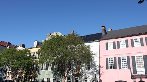 Historic buildings line a street in Charleston