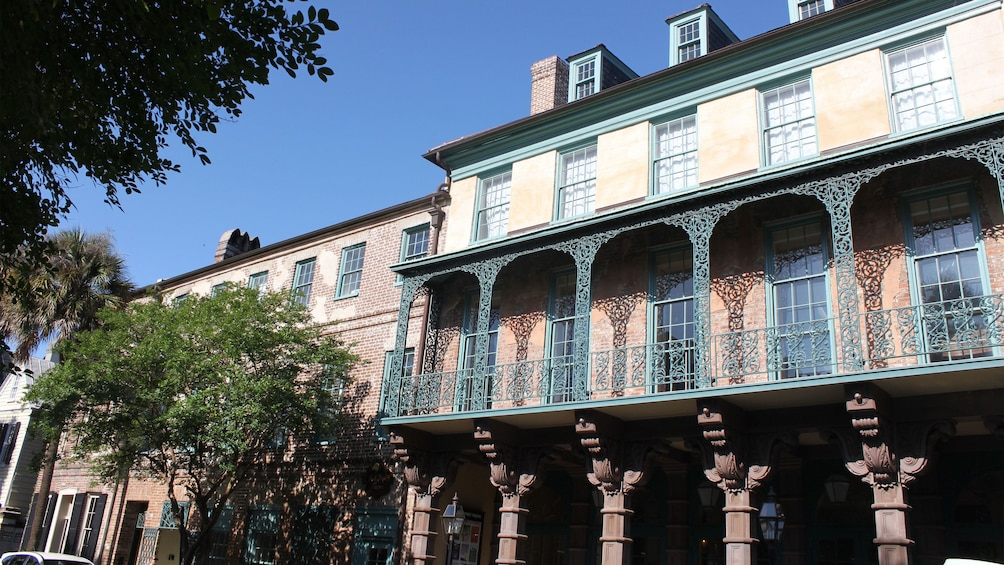 Show item 4 of 9. Ornate balcony of an historic building in Charleston