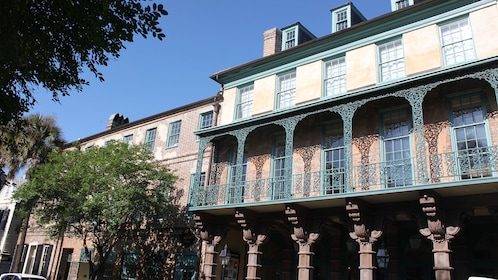 Ornate balcony of an historic building in Charleston