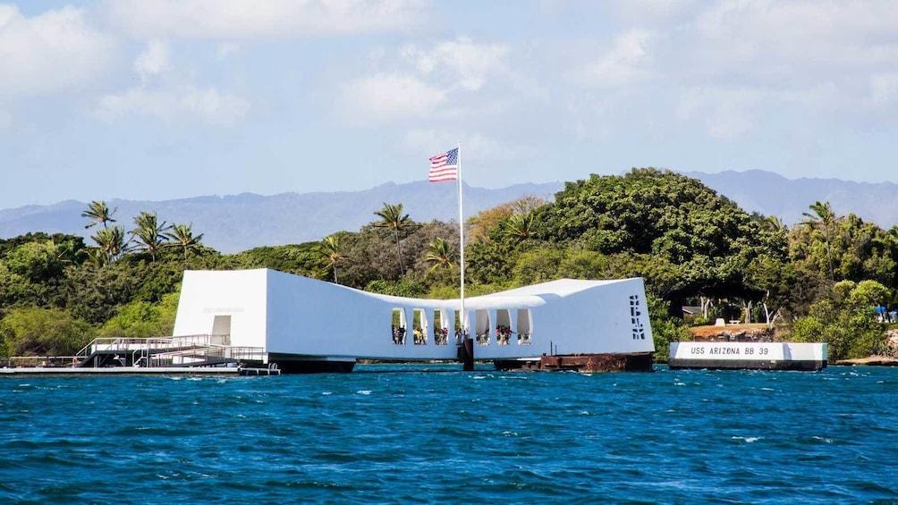 Show item 9 of 9. view of the USS Arizona Memorial in Pearl Harbor