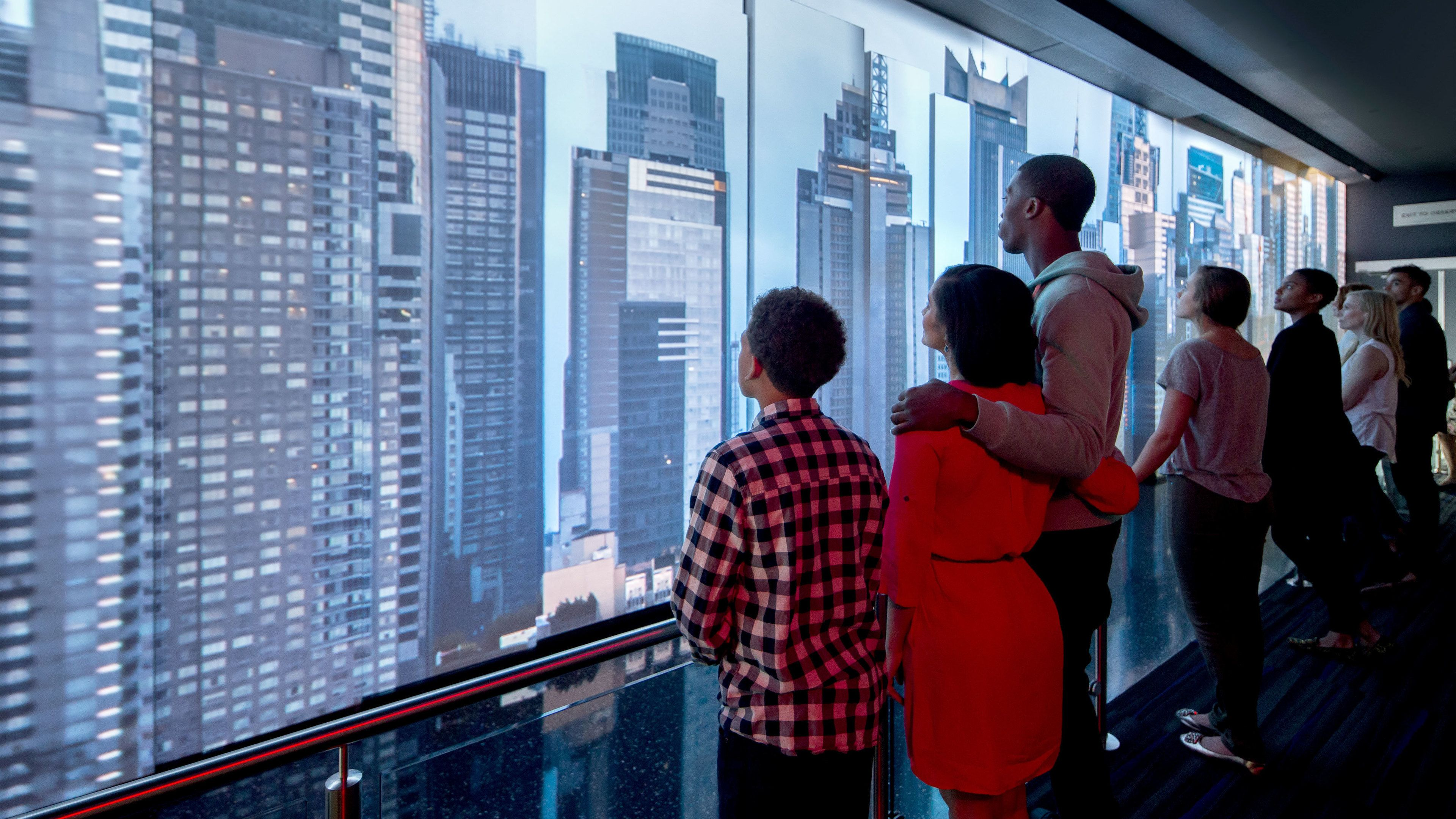 Tourists at the One World Observatory in New York