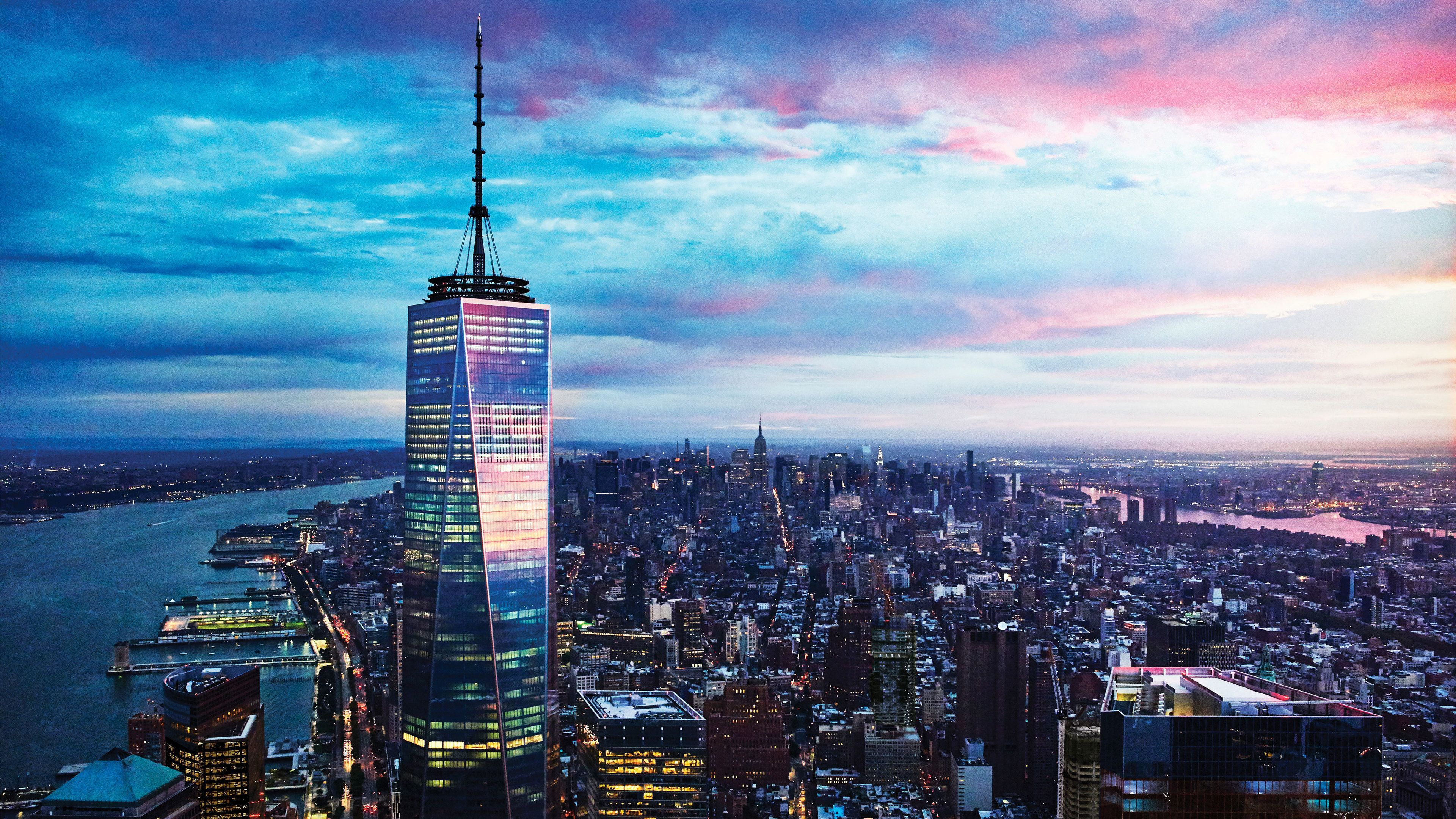 View of One World Observatory and the surrounding city in New York