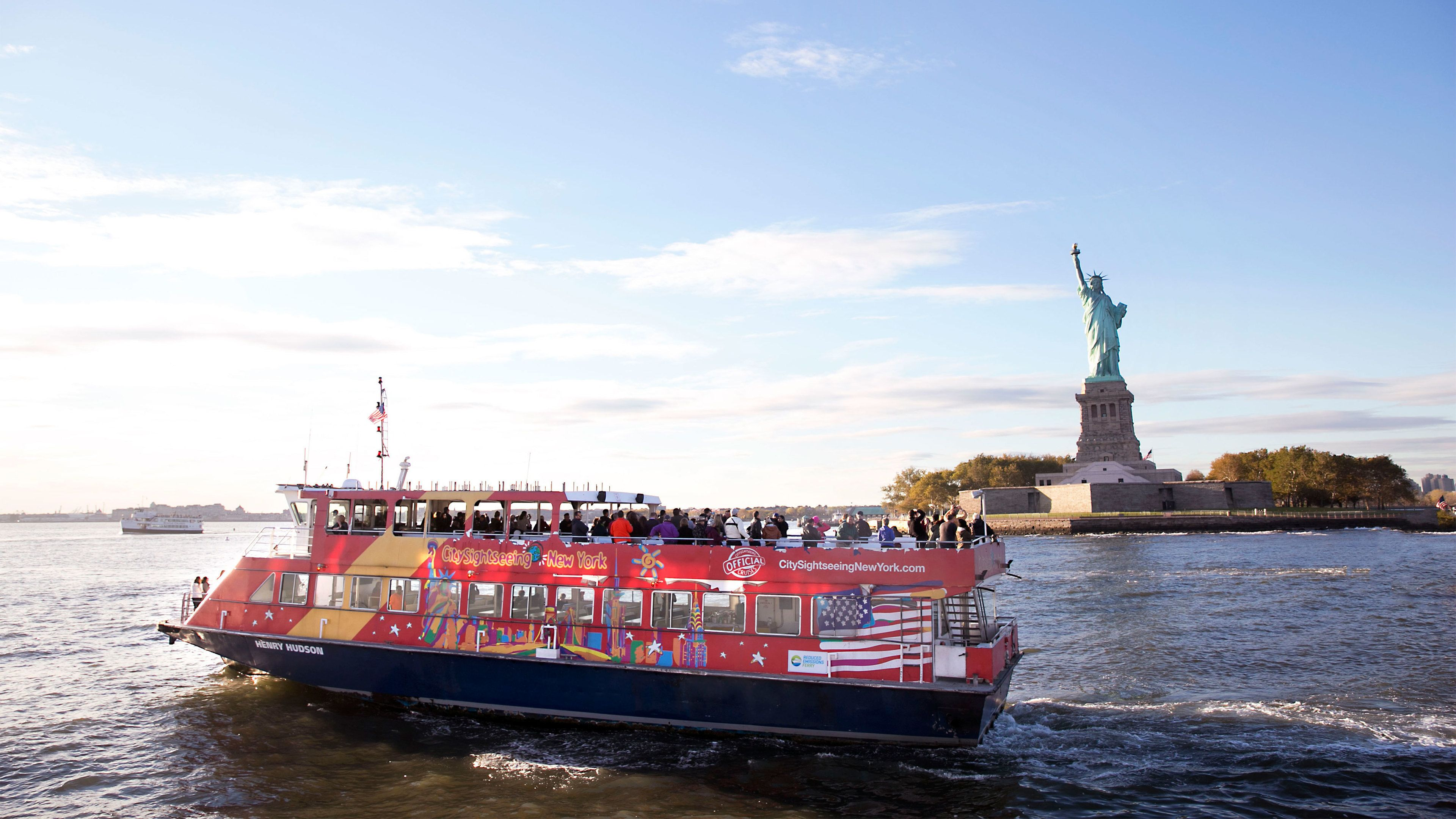Sightseeing boat near the Statue of Liberty in New York