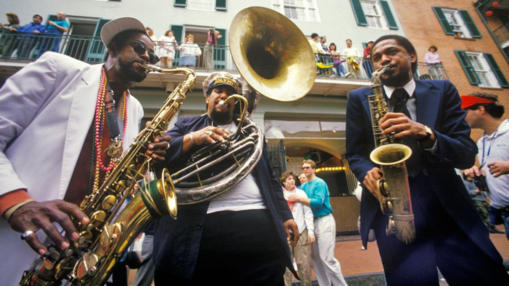 jazz musicians playing outdoors