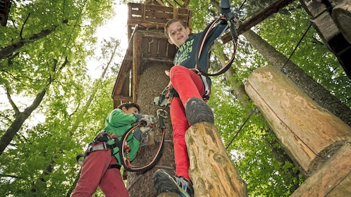 boys navigating rope course