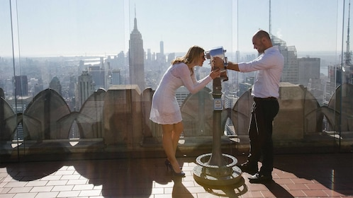 Couple on a photo shoot at the top of the rock in New York