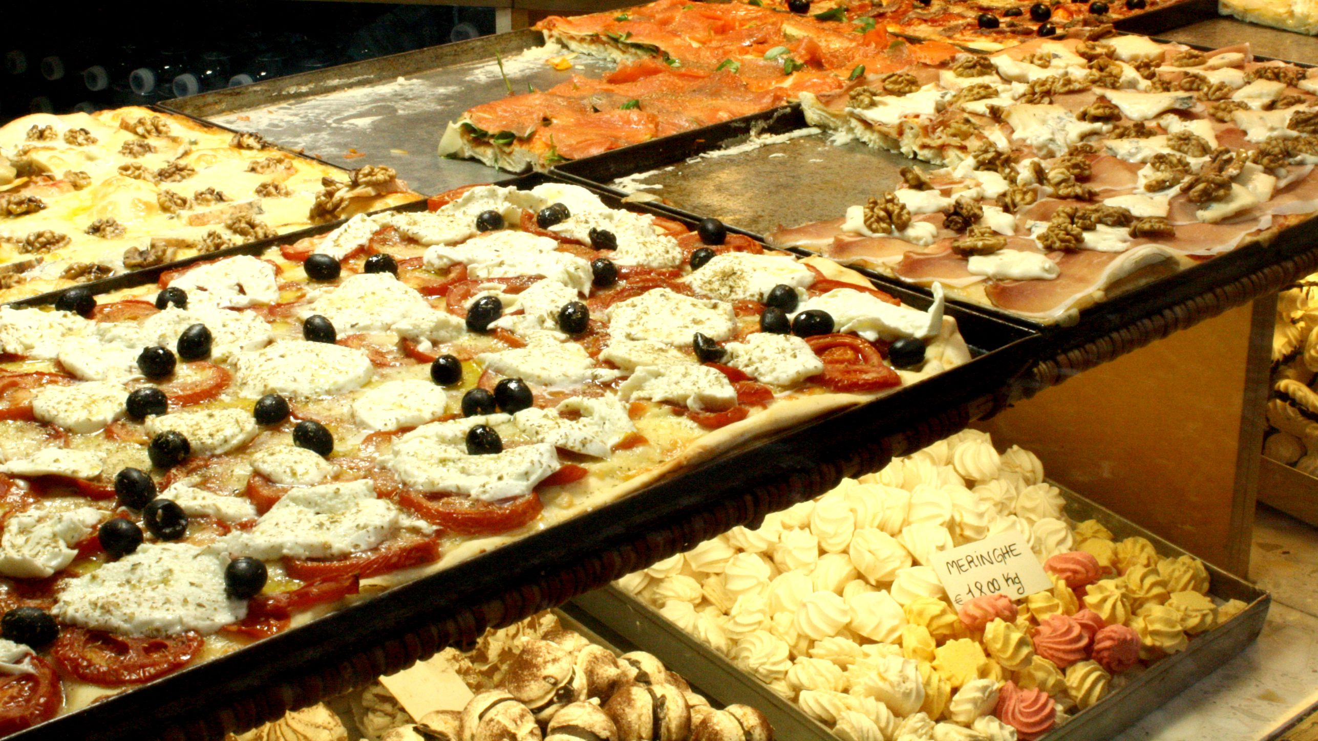 Pizza and sweets in a Milan bakery